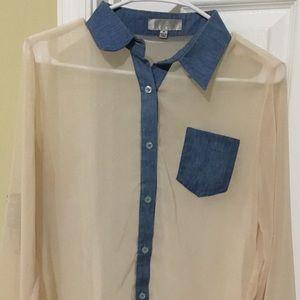 Women's Toska Sheer Button Up Long Sleeve Blouse